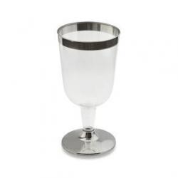 Taça para Vinho Descartável Borda Prata 210ml  c/12 unid.