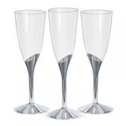 Taça para Champagne Descartável Base Prata 135ml  c/6 unid.