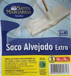 Saco Alvejado 100% Algodão Extra Grande 50cm x 76cm Fardo c/ 12 unid