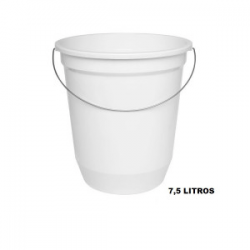 Balde Plástico Pequeno c/ Alça Metálica Branco 7,5L