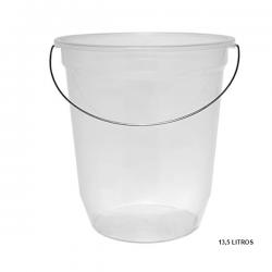 Balde Plástico Médio c/ Alça Metálica Transparente 13,5L