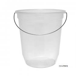 Balde Plástico Pequeno c/ Alça Metálica Transparente 7,5L