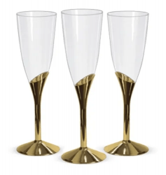 Taça para Champagne Descartável Base Dourada 135ml  c/6 unid.