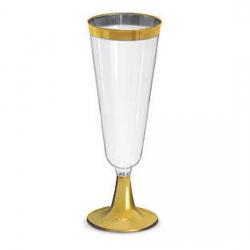 Taça para Champagne Descartável Borda Dourada 150ml  c/6 unid.
