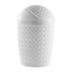 Lixeira Plástica Basculante  Rattan Branca 7,8L